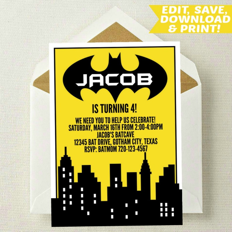 EDITABLE Batman Invitation