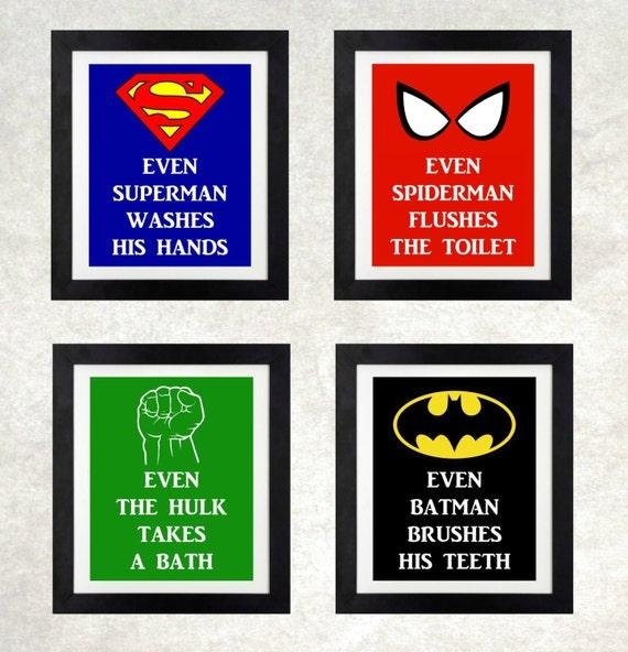 Superhero Bathroom Boys Wall Art