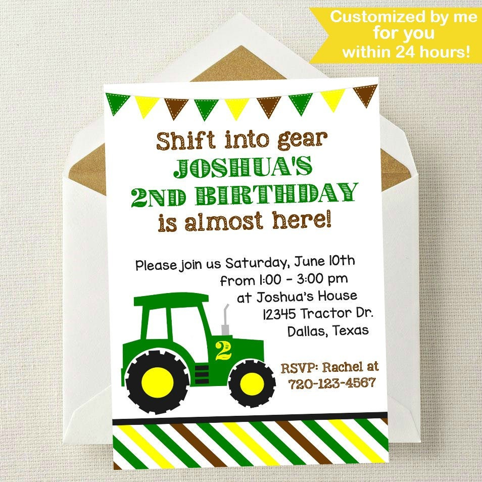 Tractor Birthday Invitation // Tractor Invitation // John | Etsy