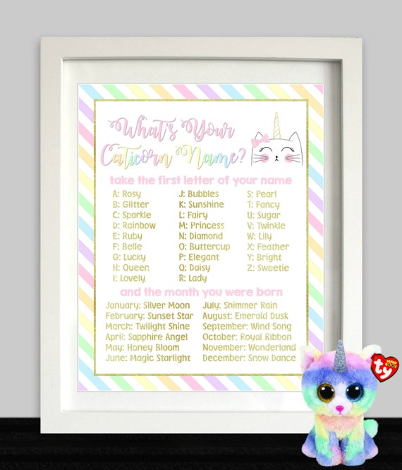 What S Your Caticorn Name Unicorn Cat Party Sign Etsy
