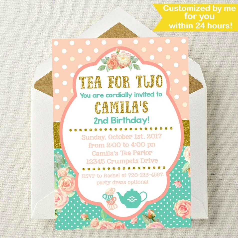 Tea for Two Birthday Invitation // Tea for Two Invite // 2nd | Etsy