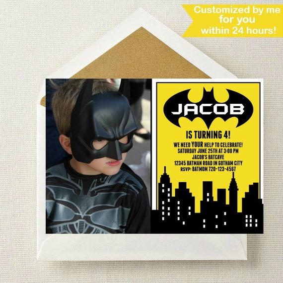 Batman Photo Invitation Birthday