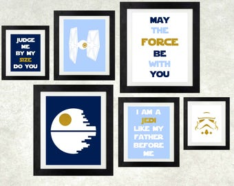 Baby Boy Star Wars Nursery // Star Wars Art // The Force is Strong With This One // Boy Star Wars // Star Wars Decor // Set of 6