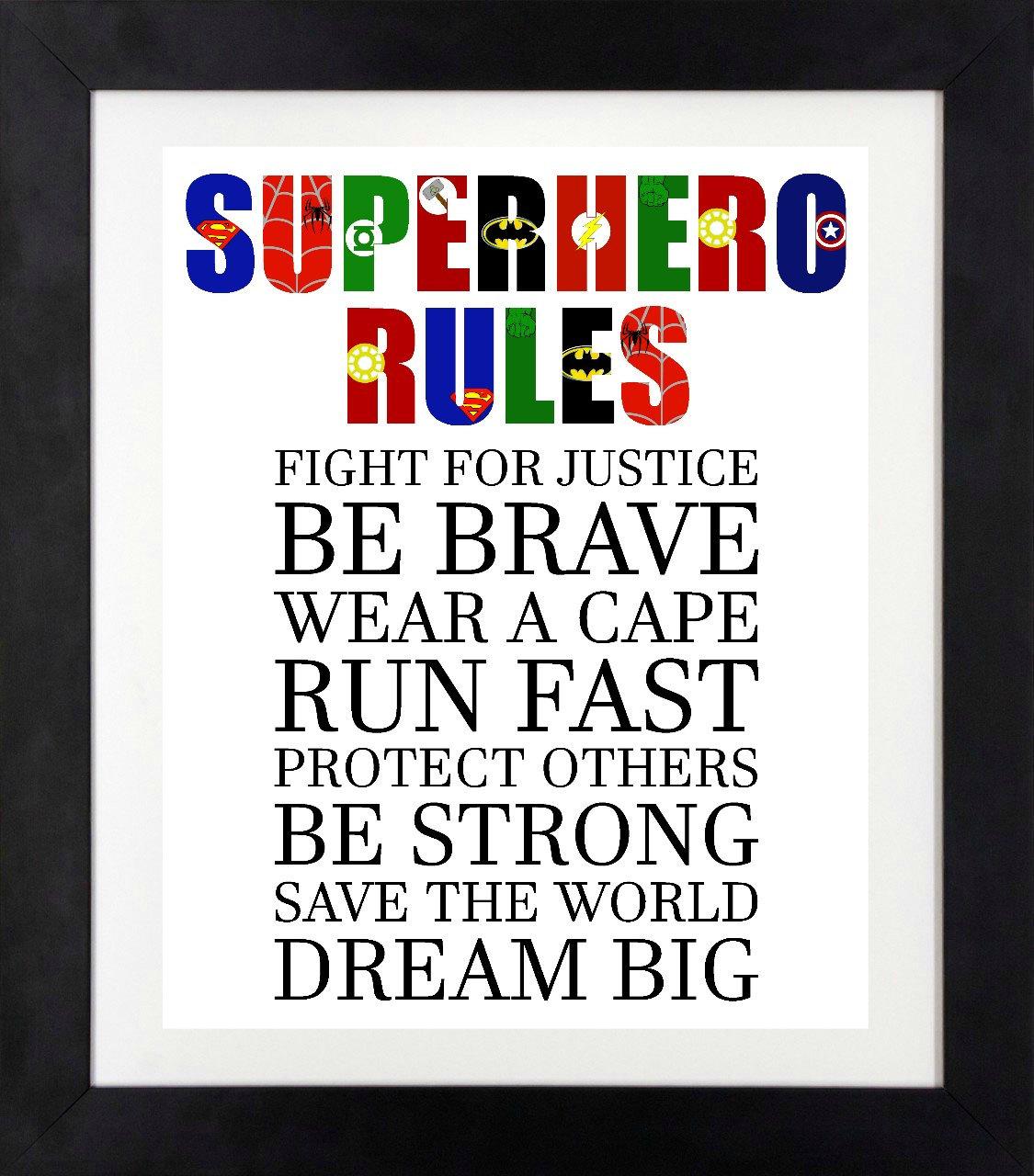 Superhero Rules Printable Superhero Wall Art Boys