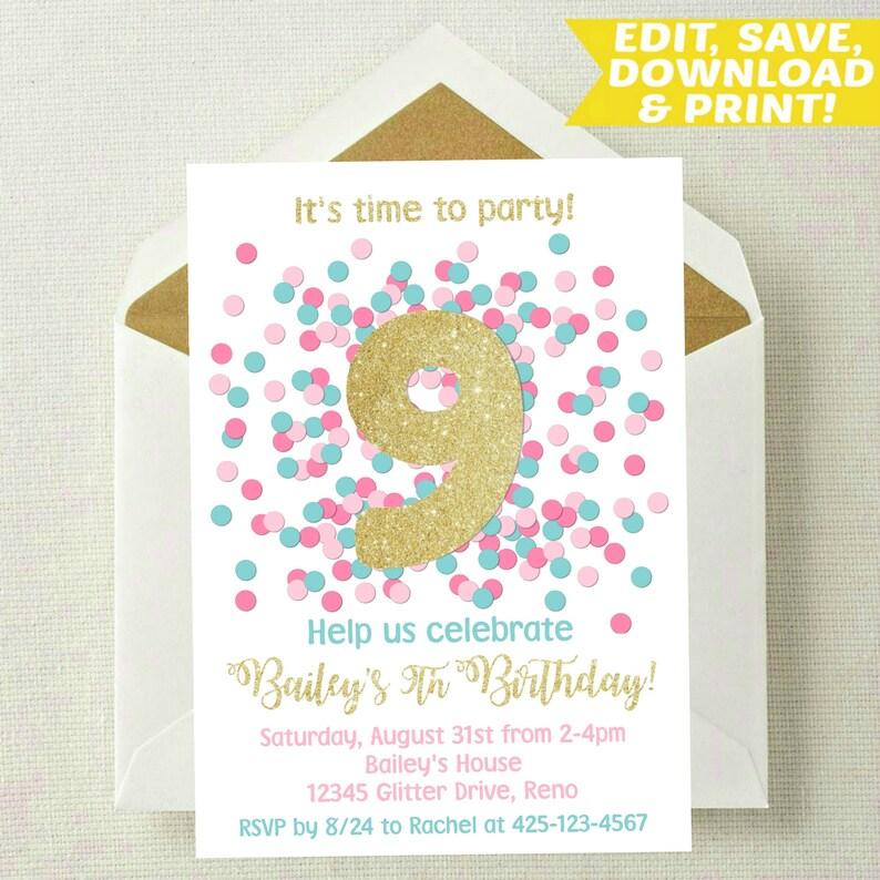 EDITABLE 9th Birthday Invitation