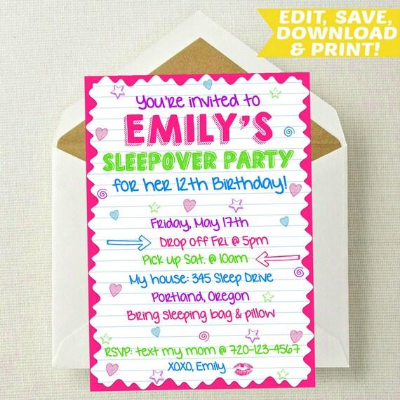 EDITABLE Sleepover Invitation Sleepover Birthday Invitation   Etsy