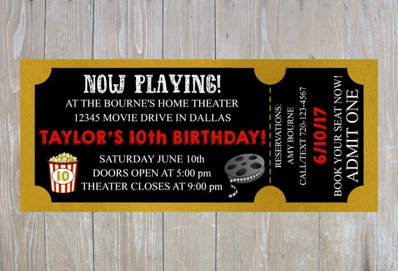 Movie Birthday Invitation Movie Ticket Invitation Movie