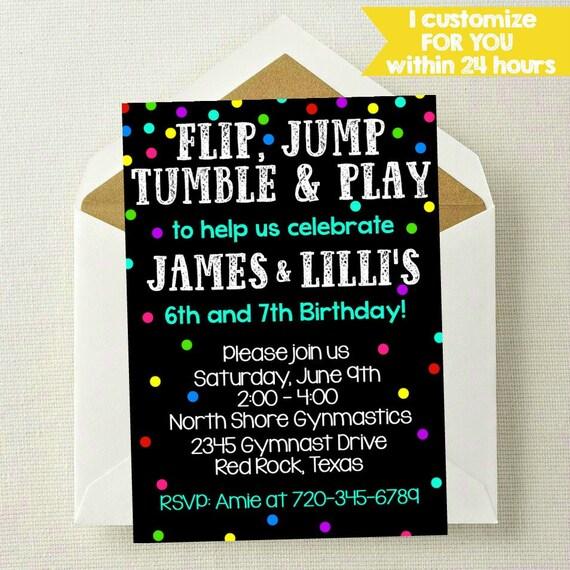 gymnastics invitation boy girl invitation joint birthday etsy