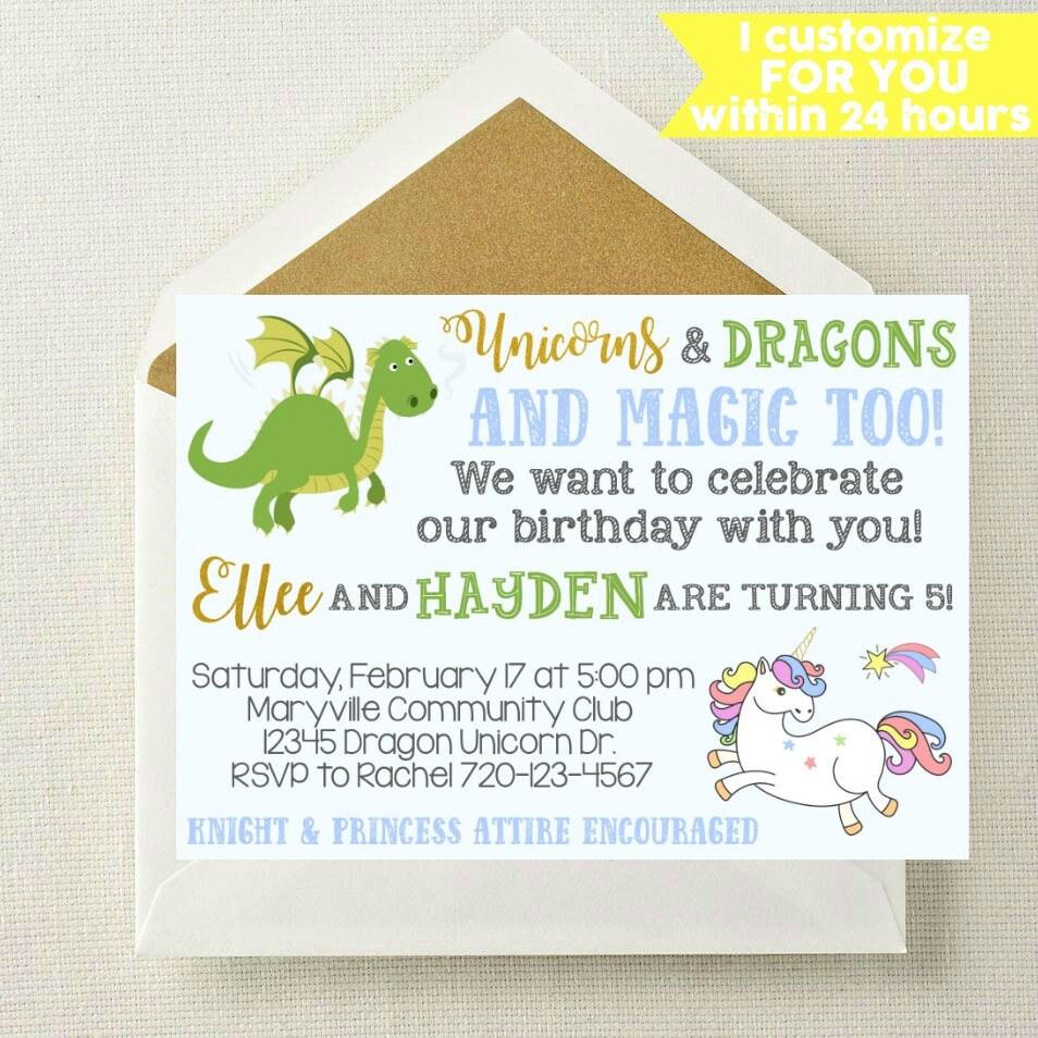 Unicorn Dragon Invitation // Boy Girl Invitation // Unicorn   Etsy