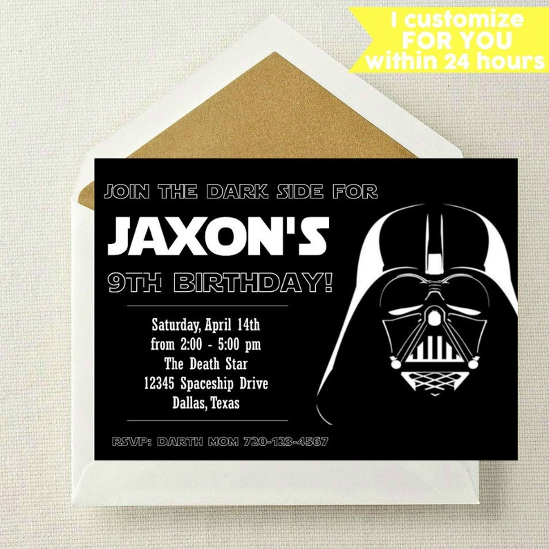 Star Wars Invitation Star Wars Birthday Invitation Darth Etsy