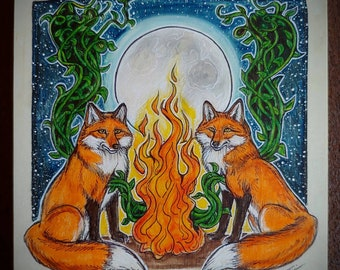 Original piece. Fox medicine, Renewal Through Connection.  8x8 inches. Ink and pastel on wood. Spirit Animal. Animal totems. Fox art.