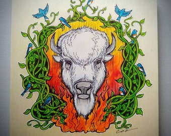 Original piece. White Buffalo, Renewal Through Fire.  8x8 inches. Ink and pastel on wood. Spirit Animal. Animal totems.  Bison art. Hope