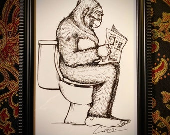 Framed print. Signed by artist. Bigfoot on the Toilet. 5x7 inch.  Bathroom art. Art for the bathroom. Bigfoot art. Sasquatch. Bigfoot gifts.