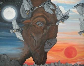 Original Art. Communication. 36x24 inches. Buffalo art. Bison art. Bird art. Yingyang. Original Painting.