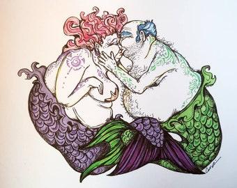 Kissing Merfolk. Art Print 8x10 inch. Mermaids. Mermaid art. Signed by artist. Mermaid decor.