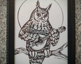 Long-eared Owl with Mandolin. Bluegrass Owl 5 part Series. 5x7inch Framed Art Print. Owl decor. Owl Art. Bluegrass music. Mandolin.