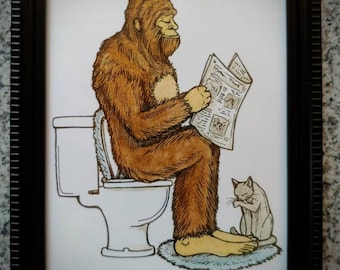 Framed print. Bigfoot Bathroom Buddies. Part two, Nature Calls. 5x7 inch. Bathroom art. Bigfoot on the Toilet. Bigfoot art. Sasquatch.