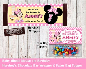 Mickey & Minnie 1st Birthday Hershey's Wrapper and Favor Bag Toppers