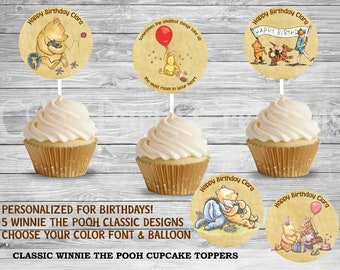 Classic Winnie the Pooh Happy Birthday Cupcake Toppers