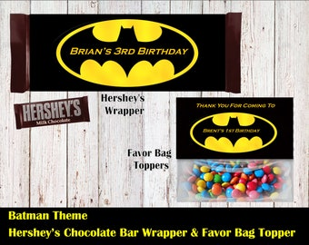 Batman Hershey's Wrapper and Favor Bag Toppers