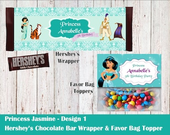 Disney Princess Jasmine Hershey's Wrapper and Favor Bag Toppers