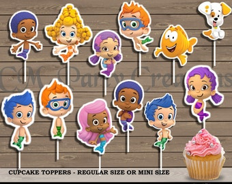 Bubble Guppies Cupcake Toppers, Die Cuts, Birthday Party Cupcake Toppers