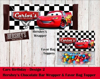 Cars Theme Hershey's Wrapper and Favor Bag Toppers