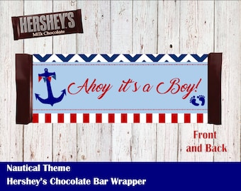 Nautical Theme - Baby Shower Hersheys Wrapper
