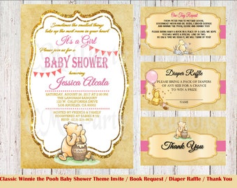 PRINTED Classic Winnie the Pooh Baby Shower Invitation, Book Request, Diaper Raffle and Thank You Card