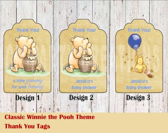 Classic Winnie the Pooh Baby Shower Thank You Tags