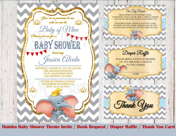 PRINTED Dumbo Baby Shower Invitation and Packages | Etsy
