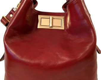 Valerie Dark Red Bucket Bag