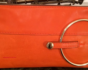 Micale Medium Orange Leather Clutch / Wristlet