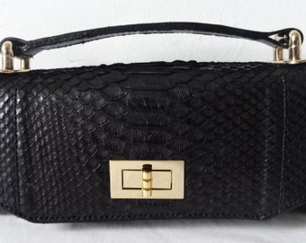 Jazz Mini Constructed Black Python Bag