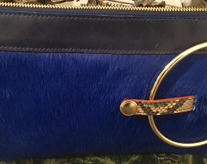 Micale Medium Blue pony Skin Clutch / Wristlet