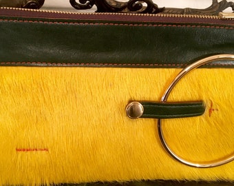 Micale Medium Yellow Pony2 Clutch / Wristlet