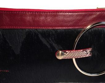 Micale Medium Black/Red pony Skin Clutch / Wristlet