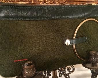 Micale Medium Green pony Skin Clutch / Wristlet