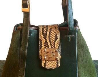 Sabrina Green Pony Bucket Bag