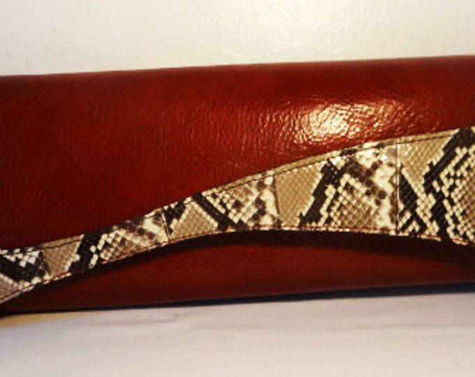 Genevieve The Red Leather Modern Clutch
