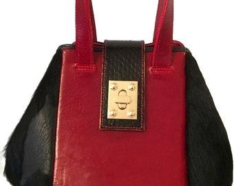 Sabrina Black Pony Bucket Bag