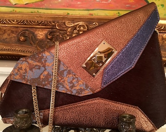 Sumaya Sumaya Asymmetrical Bronze And Brown Pony Clutch