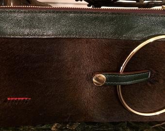Micale Medium Brown pony Skin Clutch / Wristlet