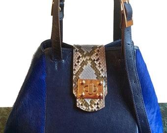 Sabrina Blue Pony Bucket Bag