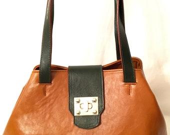 Angelina Camel Leather Tote / Shopper Bag