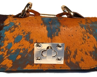 Jazz Acid Wash Brown Turquoise Mini Constructed Clutch