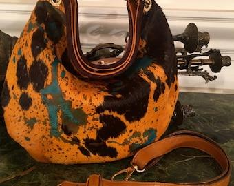 Abby Medium Acid Wash Calfskin Brown, Yellow Turquoise Hobo Bag