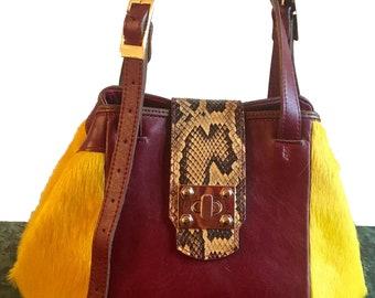 Sabrina Yellow / Rouge Pony Bucket Bag