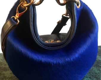 Abby Medium Blue Pony Hobo Bag