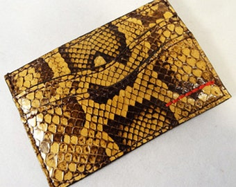 Custom Made Leather Python Card Holder